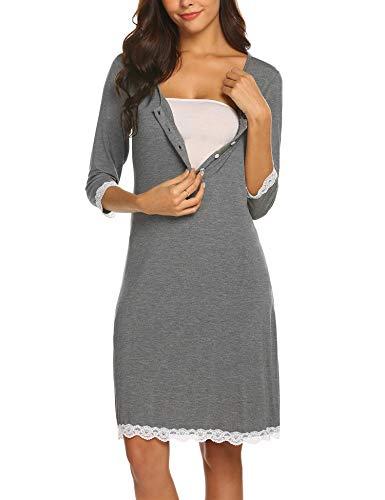 Maxmoda camicia da notte gravidanza maternità abito sexy pizzo vestaglia allattamento grigio l