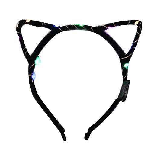 LED Blinkender Katzenohren Haarband Kopfbedeckung Partei-Bevorzugungen Zubehör Dekoration-Zusatz-Geschenk für Frauen Mädchen (Schwarz)