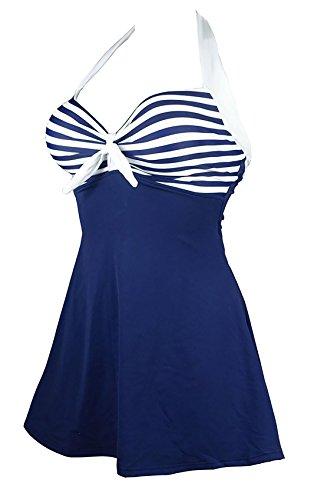 Frieda Fashion - Damen Badeanzug mit Röckchen im Marine Style, S-XXL, Viele Farben Blau