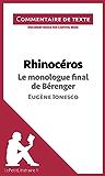 Rhinocéros de Ionesco - Le monologue final de Bérenger: Commentaire de texte