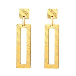 FOCALOOK 18K Gold Plated Drop Earrings for Women,Vintage Minimalistic Geometric Dangle Earrings Wedding Bridal Jewellery