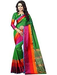 PerfectBlue Cotton Saree With Blouse Piece (I-00068_Green_Free Size)