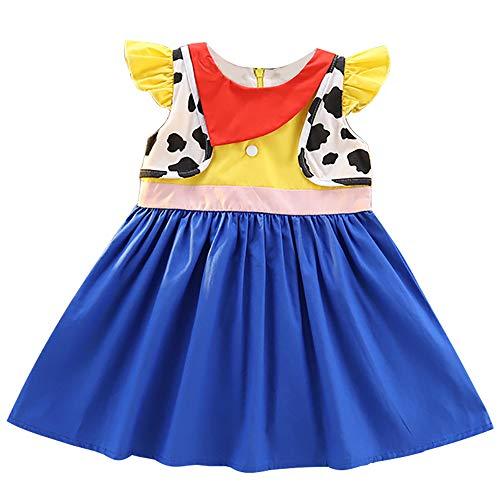 Mädchen Jessie Baumwollkleid Kinder Prinzessin Kostüm Halloween Geburtstag Party Outfit, - Jessie Mädchen Kostüm