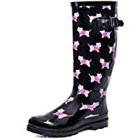 SPY LOVE BUY Karlie Flat Festival Wellies Wellington Knee High Rain Boots
