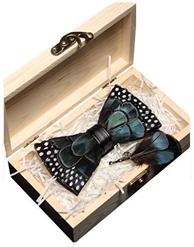 JEMYGINS Handgemacht Hochzeit Party Leder Fliege Feder Fliegen mit Geschenkbox Set für Herren (27) Design-krawatte Tie