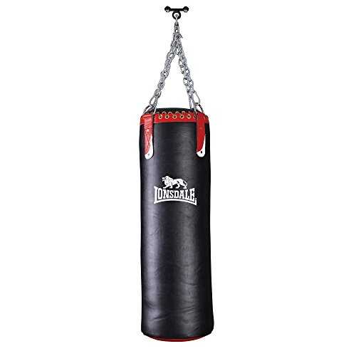 Lonsdale L-Core Heavy Leather Punch Bag - Black/Red/White, 28 kg