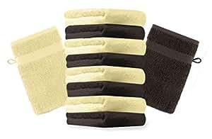 10er Pack Waschhandschuhe Waschlappen Premium Farbe Gelb & Dunkel Braun Größe 16x21 cm Kordelaufhänger 100% Baumwolle