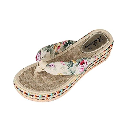 Ouneed® Damen Sandalen ,Damen Sommer Plattform Wedges Keil Plattform Zapfen Flip flops Strand beiläufige Hefterzufuhr Schuhe (36, Beige) - Beige Thong