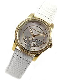 Pierre Cardin Uhr Quarz Strass gold Lederband runde Damenarmbanduhr PC106172S03