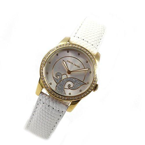 Pierre Cardin Women's Quartz Rhinestone Gold Leather Band Round Wrist Watch PC106172S03