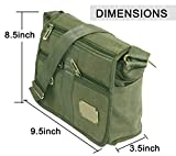 DAHSHA Stylish cotton sling cross body Travel Office Business Messenger one side shoulder bag for men women(Olive, 9.5x3.5x8.5 inch)