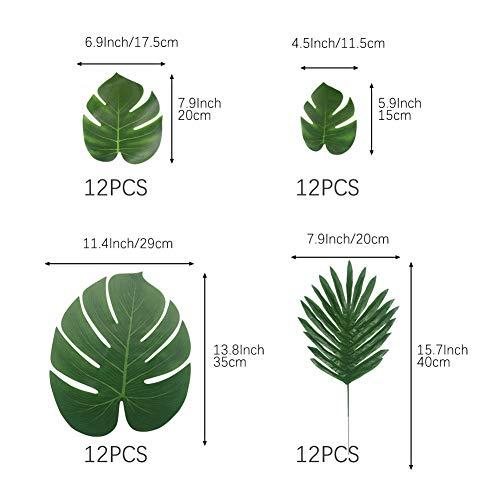 Vivifying 48 Stück 2 Arten Künstliche Palmblätter, Tropischen Party Dekorationen für Hawaiian Luau Jungle Beach Theme Dekorationen