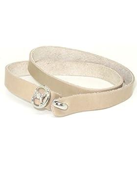 Schmales beiges Kalbsleder Armband 2-fach geschlungen verziert mit einer kleinen Breze von Meiner Glitzerwelt