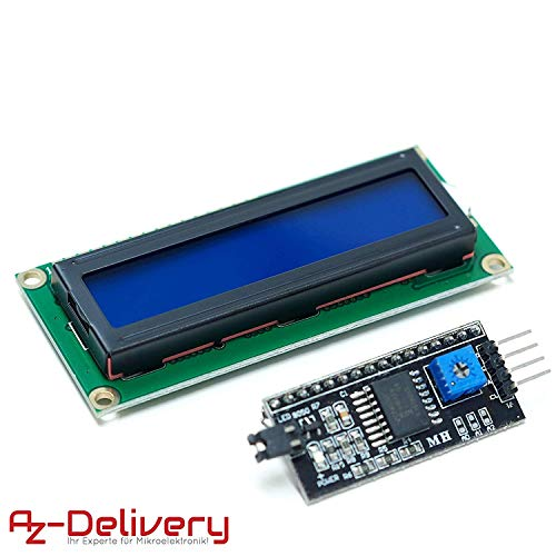 AZDelivery ⭐⭐⭐⭐⭐ HD44780 1602 LCD Modul Display Bundle mit I2C Schnittstelle 2x16 Zeichen mit gratis eBook! (mit blauem Hintergrund) Lcd-display-modul