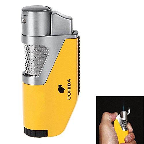 KAWAICAT Cohiba Zigarettenanzünder Sturmfeuerzeug Gas Feuerzeug Torch Feuerzeug nachfüllbar mit Zigarre Jet Blue Flame Feuerzeug d0111, gelb