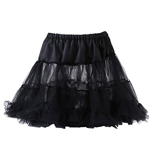 UTOVME Damen Rock 4 Layer Petticoat Unterrock Tüll Tutu Röcke Ballett Puff Rock für Tanz Party Bühnen Kostüm Show COSPLAY, Schwarz (Layer-petticoat Rock)