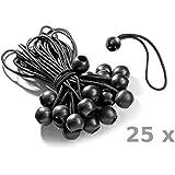 25 Spanngummis mit Kugel (schwarz 195 mm) zur Befestigung von Zelten, Planen, Plakaten & Anhängerplanen. Planenspanner / Expanderschlingen / Planenhalter / Planengummi / Kugelspanner / Gummispanner mit Kugel / Zeltgummi