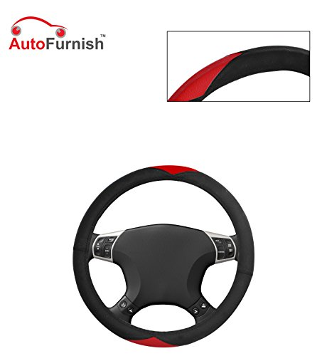 Autofurnish (AFSC-721 Red Black) Leatherite Car Steering Cover For Hyundai Fluidic Verna 4S  available at amazon for Rs.299