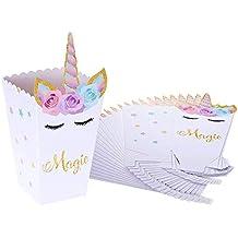 Cajas de Palomitas, INTVN Unicornio Caja Carton Popcorn Box Candy Boxes para Baby Shower Fiesta