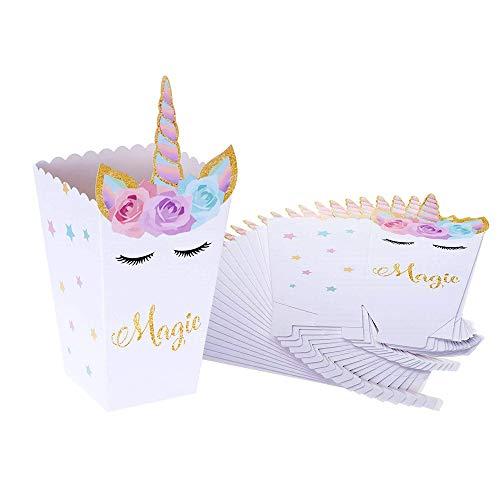 Cajas de Palomitas, INTVN Unicornio Caja Carton Popcorn Box Candy Boxes para Baby Shower Fiesta de cumpleaños Suministros, 24 Piezas