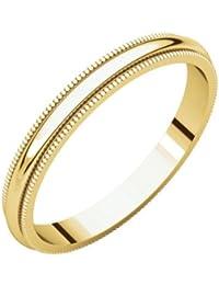 JewelryWeb Anillo de Oro Amarillo de 10 Quilates DE 2,5 mm con Banda Milgrain