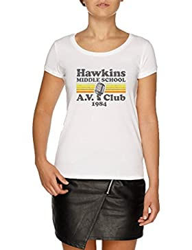 Jergley Hawkins Middle School A.V. Club Camiseta Blanco Mujer | Women's White T-Shirt