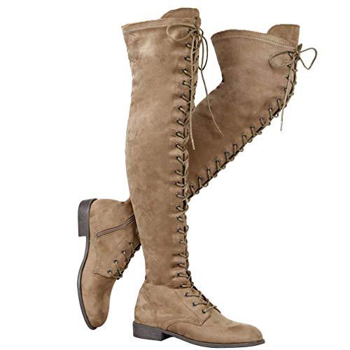 Mujer Botas Ante Tacón Plano Largo Botas Altas Otoño Zapatillas de Moda Botas Altas Zapatos de Señoras...