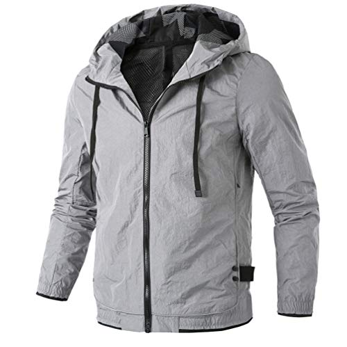 Manadlian Herren Kapuzenpullover Herbst Winter Beiläufig Reißverschluss Pure Farbe Draussen Sport Jacke Mantel Snowboardjacke