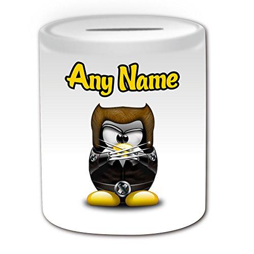 Personalisiertes Geschenk–James Howlett Spardose (Pinguin Film Charakter Design Thema, weiß)–Jeder Name/Nachricht auf Ihre Einzigartiges–Kostüm Film Superheld Hero Marvel Comics Avengers X-Men Logan (Kostüm Howlett)