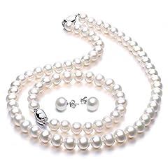 Idea Regalo - Parure gioielli Perla Collana orecchini e braccialetto per donna Parure di perle regalo per la festa della mamma regali di San Valentino Qualità AAA di VIKI LYNN