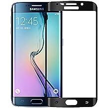 """Protector de pantalla vidrio templado para Samsung Galaxy S6 Edge """"Pantalla completa"""" NEGRO (Cubre la zona curva de la pantalla).  Grosor 0,2mm con alta resistencia a impactos. Perfecto ajuste sin dejar zonas sin cubrir. No se forman burbujas"""