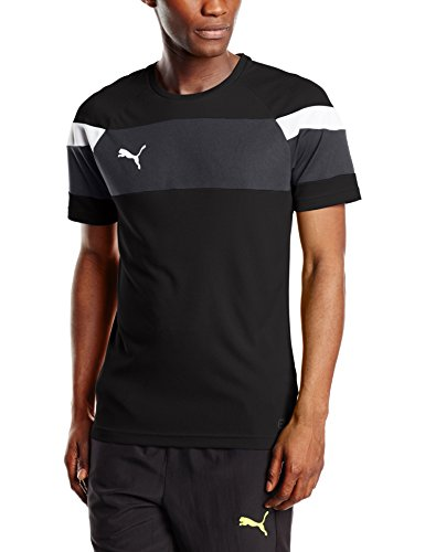 PUMA Herren T-shirt Spirit II Training Jersey, black-white, L, 654655 03