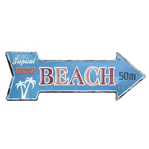 Lumanuby 1x Bar Werbung von Schäbig Stil Pfeil Form mit Wort 'Tropical Paradise Beach 50m' und Kokosnussbaum Bild Metallschild für Strand Bar Pub Club oder Hotel, Bar Sprüche Serie Size 45cm*16cm -