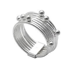 Idea Regalo - Silverly Anello Argento 925 7 Bande Girevoli Antistress Connessi Sfere