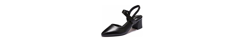 GTVERNH Lado Aire Medio Tacón Cabeza Puntiaguda Sandalias La Primavera Y El Verano Rough Tacon Zapatos De Mujer... -