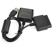Dual Adaptador Converter para Mando de PS1 PS2 a PS3 PC USB Negro