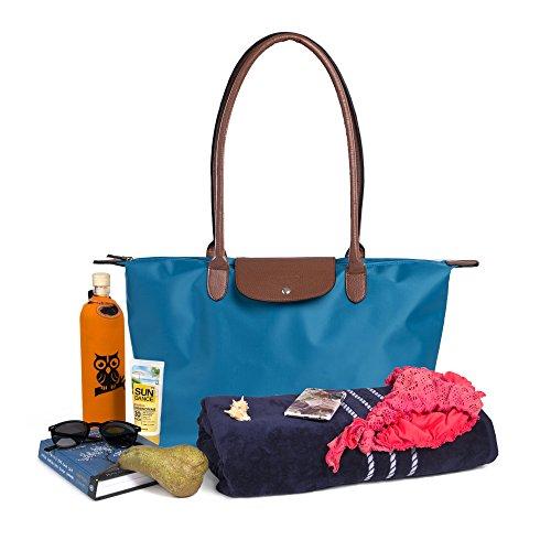 Damen Tasche aus Nylon, Umhängetasche für Freizeit, Einkaufen, Strand und Reisen / Wasserabweisende Henkeltasche Urban Traveler by Scandinavia (Blau)