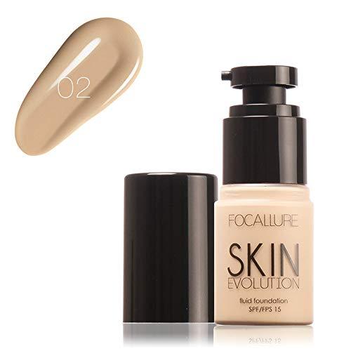 Cwemimifa Instant Anti-Age Effekt Concealer,FOCALLURE Face Foundation Makeup Base Flüssiger Concealer Feuchtigkeitscreme Ölkontrolle,2# -