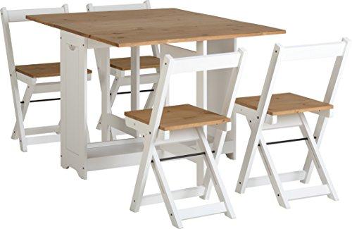 Conjunto de mesa con 4 sillas plegables, color blanco y madera de pino