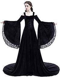 Yukeyy Disfraz Medieval De Mujer Vestido Largo Vestido Vintage De Manga Larga Disfraz De Cosplay De Halloween