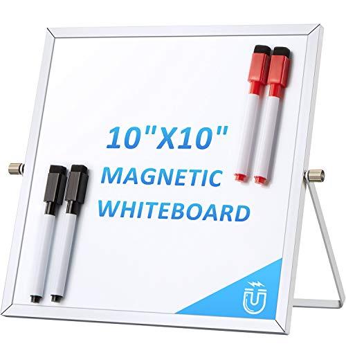 Trocken Löschen Magnetisches Whiteboard 10 x 10 Zoll Kleine Doppelseitige Desktop Weiße Tafel, Mini Aufgabenliste Notizblock mit Ständer für Büro, Zuhause, Schule, 4 Stifte
