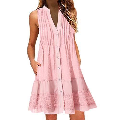 FeiBeauty Kleider Damen Sommer Boho V-Ausschnitt ärmelloses Minikleid Spitzen-Patchwork Strandkleid Mit Knopf Weiß, Blau, Pink, Khaki S-3XL