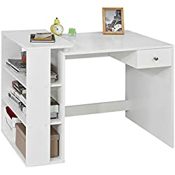 SoBuy® FWT35-W Table Bureau Informatique Plan de Travail avec 3 étagères et 1 tiroir - Blanc