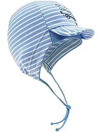 632e6f16fd91 EveryHead Fiebig Bonnet De Bébé À Lanières Chapeau Garçon Cap Jersey  Casquette Visière Coton Strié Avec
