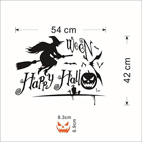 (Halloween Hexe Kürbis Wandaufkleber, Zolimx Kürbis Hexe Wandaufkleber Fenster Home Decoration Abziehbild Dekor)