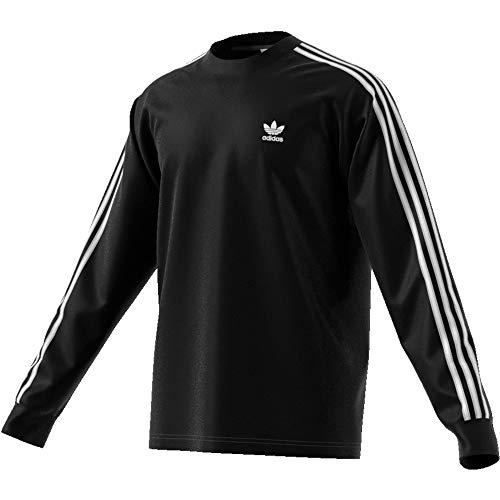 Adidas 3-stripes longsleeve t-shirt, t-shirts uomo, black, xl
