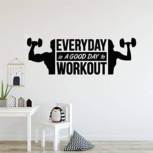 ljradj Art Vinyl Wandaufkleber Fitness Zitate Abziehbilder Home Decoration Schlafzimmer Gym Work Out Girl Motivation Crossfit Logo schwarz 142x50cm