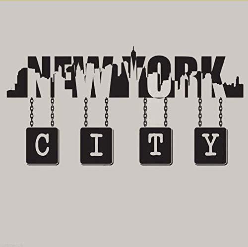 Lvabc New York City Skyline Wand Zitat Vinyl Aufkleber Wand Kunst Vinyl Aufkleber Aufkleber Wandbild New York Silhouette Wandbild - Abnehmbare 83X42Cm