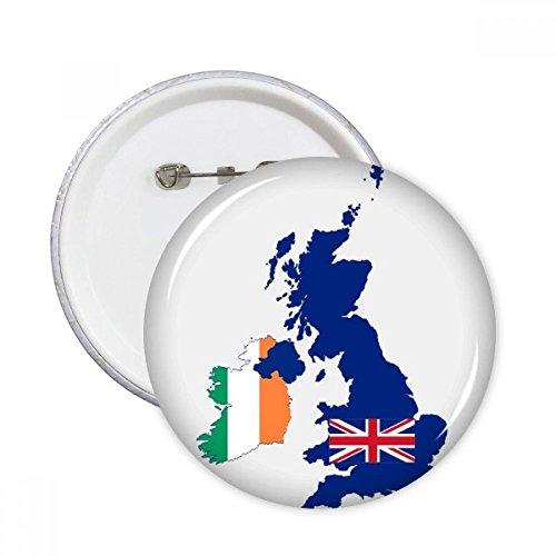 Flagge Großbritanniens/Flagge Irlands, rund, Anstecknadeln, für Kleidung, Dekoration, 5 Stück S mehrfarbig -