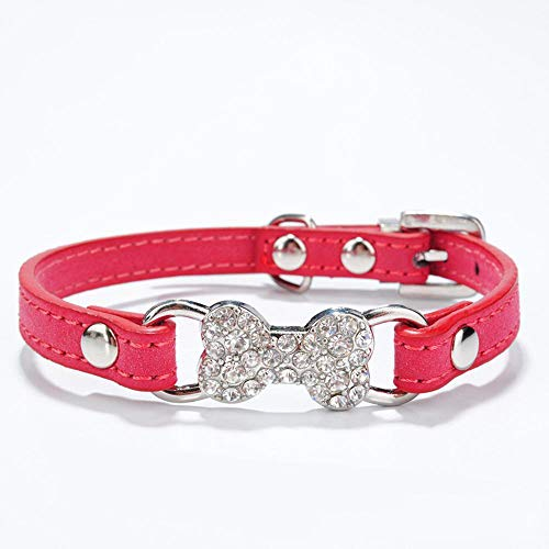 Dixinla Hundehalsband Doppeltes Gesicht Diamant Knochen Mosaik Dekoration Katze Hund Lederhalsband Pet Supplies (Knochen Von Tasche Dekorationen)